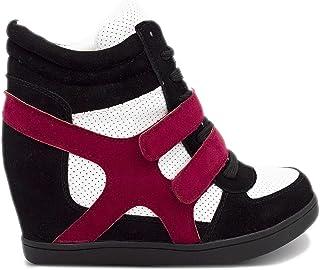 240ac8771376b6 Baskets Compensées Femmes Montantes – Chaussure Sneakers Bi-Matière Urban  Talon Haut - Tennis Casuel
