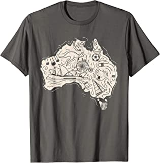 Cool Australia Elements and Animals Map T- Shirt Gift