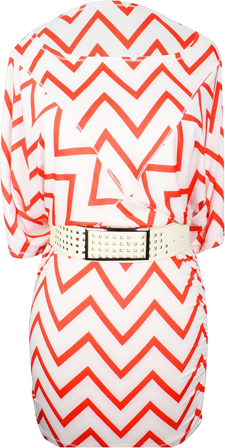 Peach Couture Red and White Large Adjustable Belt Midi Day Zig Zag Dress