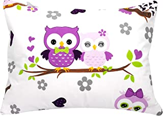 Toddler Pillowcase 13x18 by Comfy Turtles, 100 Natural Cotton, or Get a Smile from a Kid with Cute Animals of this Soft Pillow Cover for Boys and Girls (Mauve Owls)