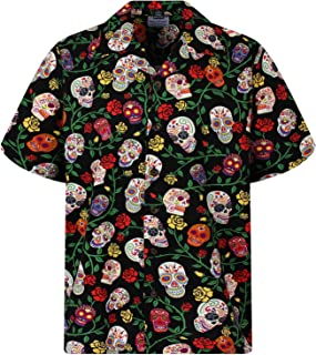 Hawaiian Shirt for Men Casual Button Down Shortsleeve Unisex Day of The Dead Halloween Sugar Skulls Skeletons