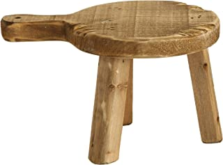Creative Co-Op DA6896 Round Wood Pedestal with Handle, Small, Brown