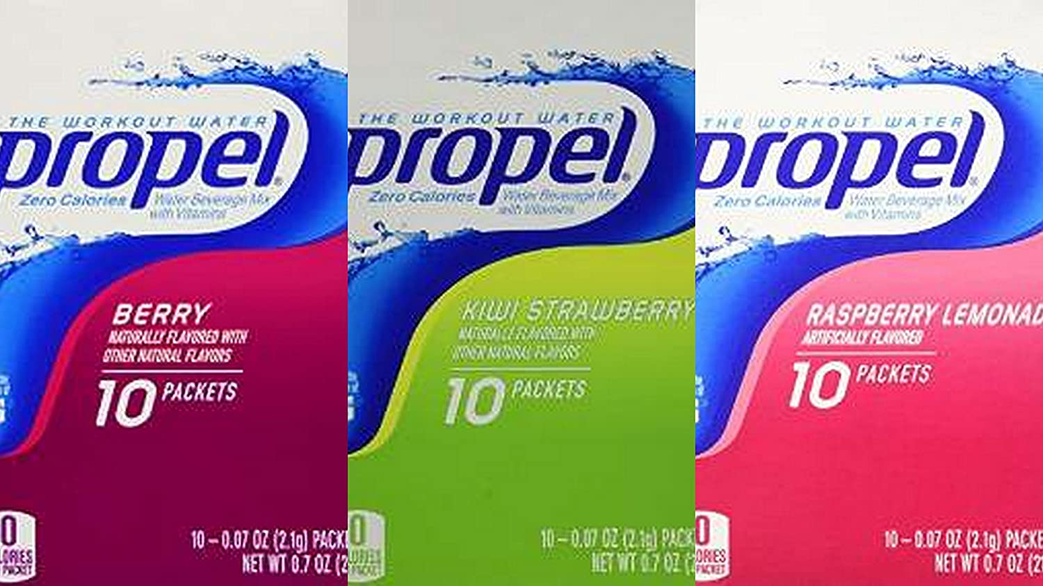 Propel Zero Powder Packets Variety Bundle - 60 Packets - 6 Boxes Total (2 Boxes Each of Raspberry Lemonade, Kiwi Strawberry, and Berry) …