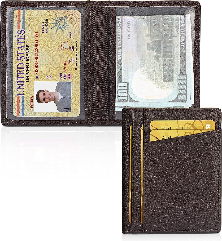 Unaone Slim Minimalist Wallet - Premium Leather RFID Blocking Card Holder Wallets with 8 Card Pockets and 2 ID Window,Brown