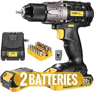 "مته Drill / Driver حداکثر 20V، TECCPO حرفه ای 60Nm قدرت مته با باتری 2X2.0Ah، 1/2 ""Chuck بدون کلید، 24 + 1 تنظیم گشتاور، 2 سرعت، چراغ LED، لوازم جانبی 29pcs - TDCD03P"