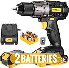Cordless Drill, 20V Drill Driver 2x2000mAh Batteries, 530 In-lbs Torque, 24+1 Torque Setting, Fast Charger 2.0A, 2-Variabl...