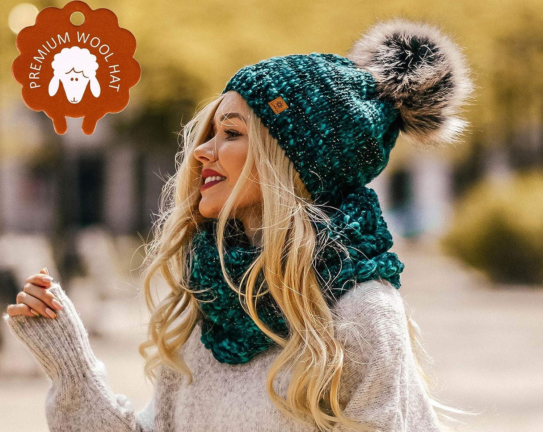MFAZ Morefaz Ltd Set M/ütze /& Schal Damen Winter Beanie Strickm/ütze Alpaka Wolle Wurm Fleece Bommel Pom Pom