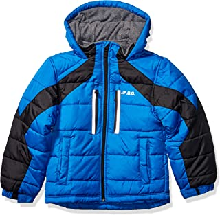 London Fog Boys' Big Active Puffer Jacket Winter Coat, Super Blue, 10/12