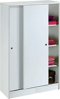 Armario Auxiliar Zapatero Multiusos Blanco Brillo de 2 Puertas correderas estantes Regulables para Oficina despensa Coc...