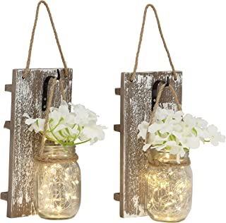 Rustic Wall Sconces - Mason Jars Sconce, Rustic Home Decor,Wrought Iron Hooks, Silk Hydrangea and LED Strip Lights Design 6 Hour Timer Home Decoration (Set of 2)(Brown)