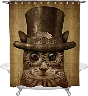 MitoVilla Steampunk Brown Cat Antique Animal Shower Curtain Set with Curtain Rings, Kitten Bathroom Accessories for Novelty Home Decor, 72 W x 78 L inches