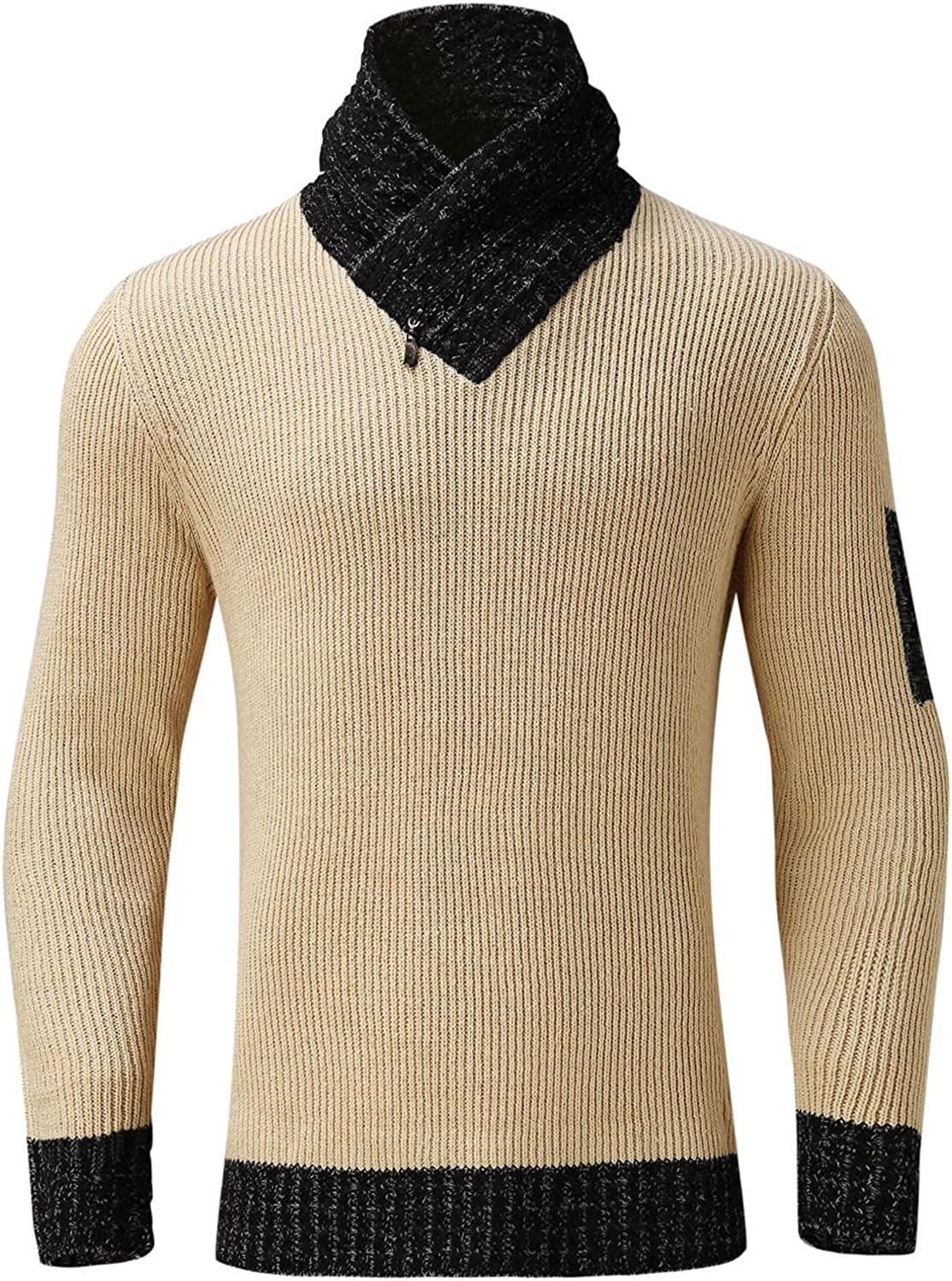 Huangse Mens Shawl Collar Sweater Casual Slim Fit Turtleneck Sweater Cable Knit Jacket Thermal Pullover Sweaters