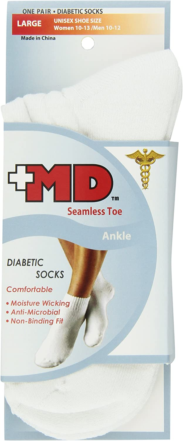 Max 87% OFF MD USA Seamless Toe-Wave-In Max 66% OFF Mesh Diabetic La Ankle Socks White