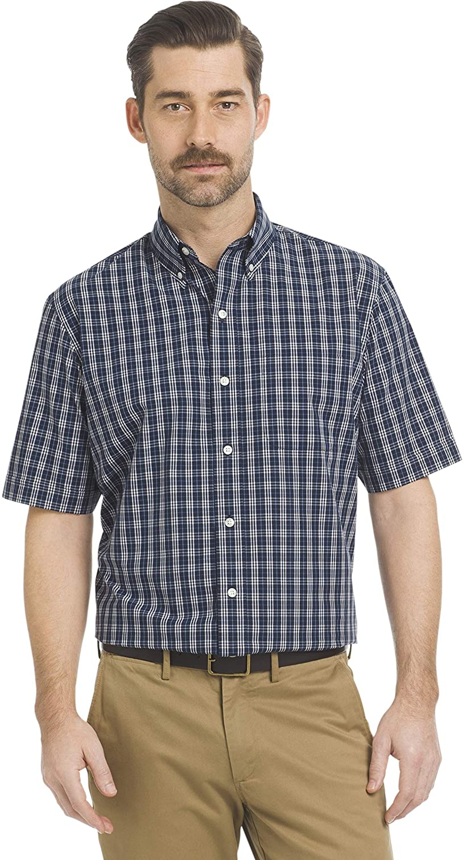 ARROW USA 1851 Men's Big and Tall Hamilton Poplins Short Sleeve Button Down Plaid Shirt