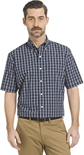 Arrow Men's Big and Tall Hamilton Poplins Short Sleeve Button Down Plaid Shirt