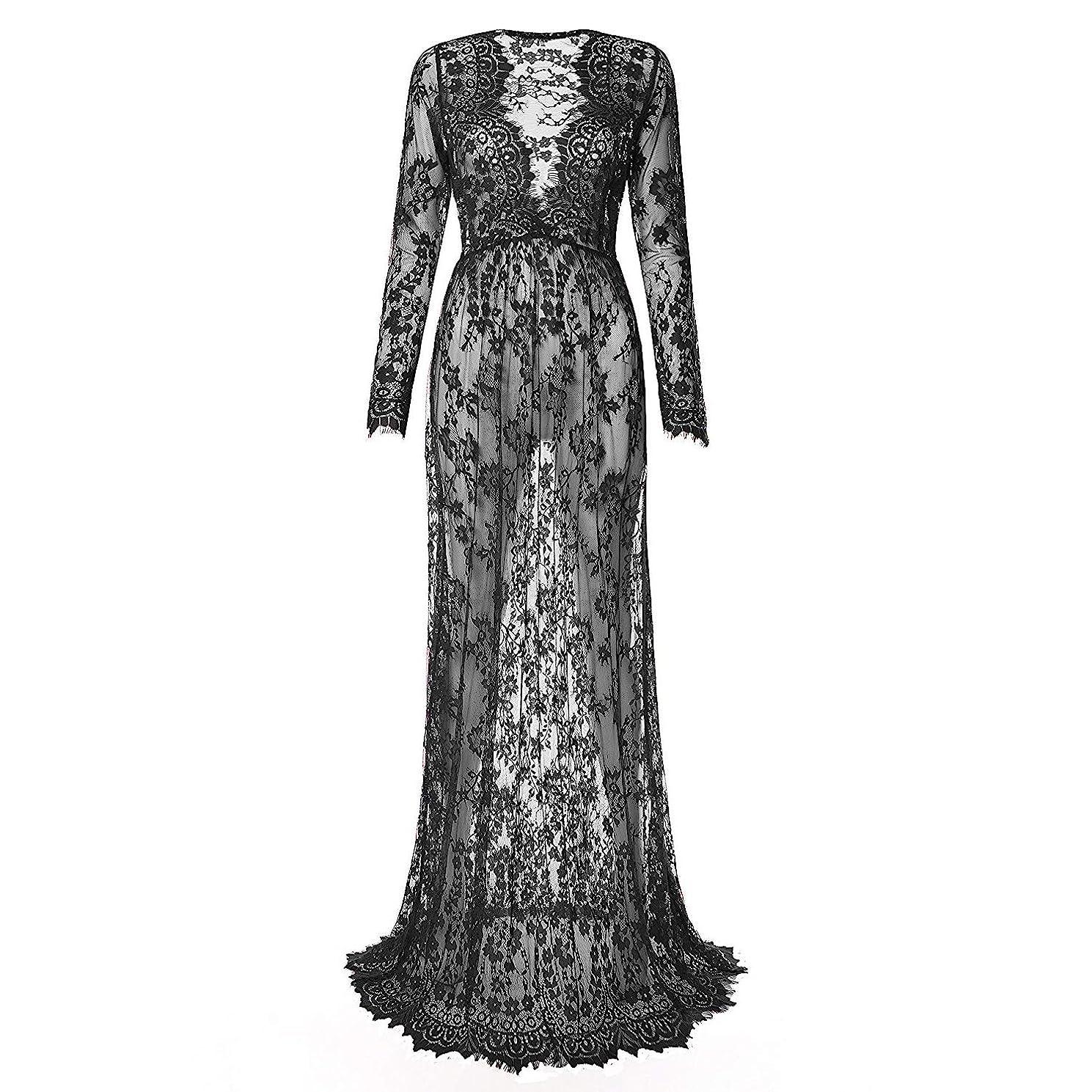 Laisiyi Sexy Deep V-Neck Lace Beach Dress See-Through Long Sleeve Maxi Dress