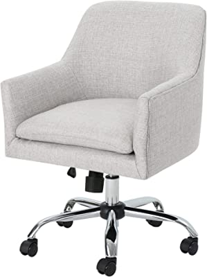Christopher Knight Home Morgan Mid Century Modern Fabric Home Office Chair with Chrome Base, Beige, Wasabi