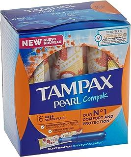 Tampax Pearl Compak, 128 sztuk, super Plus, tampony z aplikatorem, które zapewniają komfort, ochronę i dyskrecję