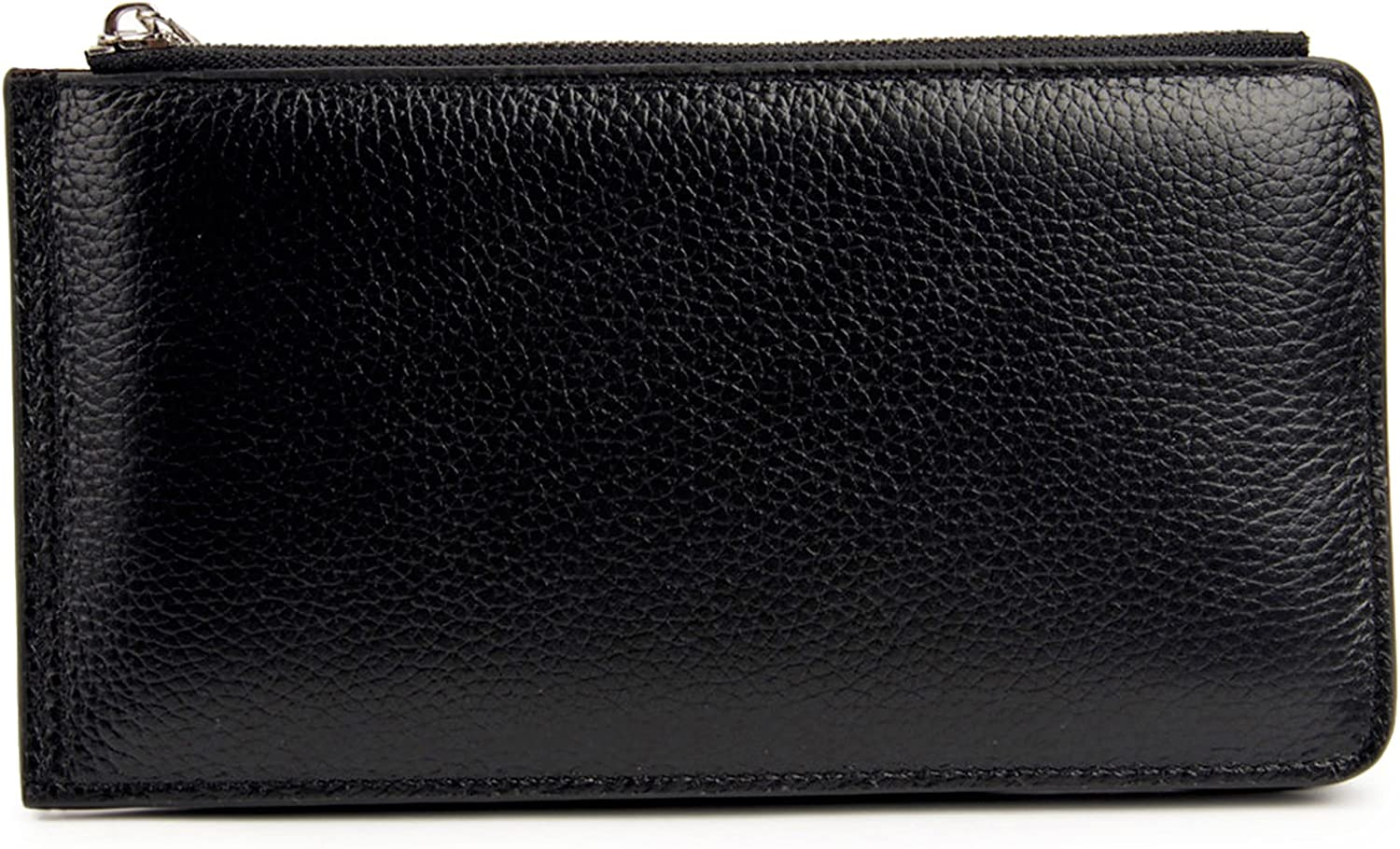 Women's RFID Blocking Leather Card Organizer Wallet with Phone Zipper Pocket (Black)