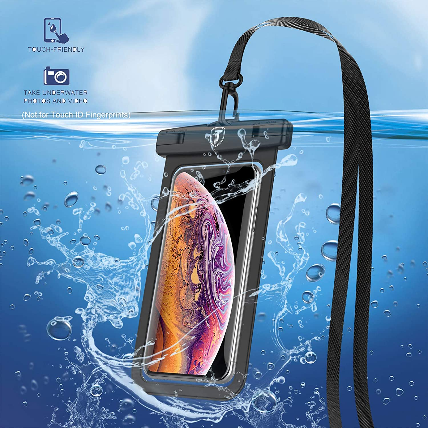 Tiflook Waterproof Pouch Phone Dry Bag Underwater Case Compatible with iPhone 12 Pro Max 11 XR X XS Max 8 7 6S 6 SE Samsung LG Moto TCL Phone Pouch for Beach with Lanyard Neck Strap, Black (2 Pack)