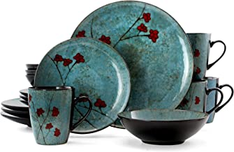 Elama Round Stoneware Floral Dinnerware Dish Set, 16 Piece, Blue with Red Accents
