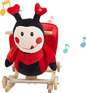Lucky Tree Rocking Horse Toddlers Plush Riding Rocker 2 in 1 Animal Ride on Toys for 1 2 3 Year Old, Red Ladybug