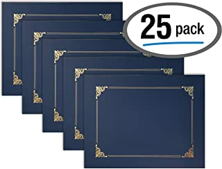 25 Pack Navy Blue Certificate Holders, Diploma Holders, Document Covers with Gold Foil Border, by Better Office Products, for Letter Size Paper, 25 Count, Blue