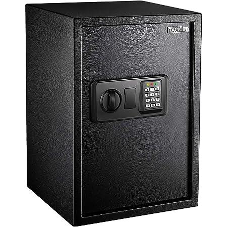 TACKLIFE 1.8 Cubic Feet Safe Digital Lock Box with Instruction Light for Money Safe Cash Jewelry Passport Gun Security-50SA