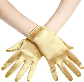Short Opera Satin Gloves Wrist Banquet Gloves Tea Party Dancing Gloves