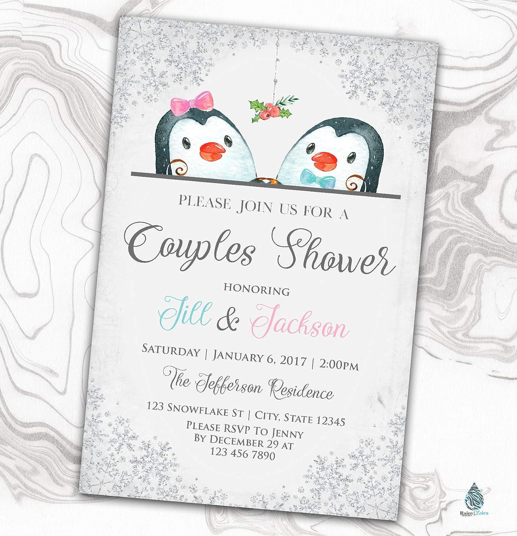 Penguin Couples Shower Invitation Winter Bridal - Trust Memphis Mall Invite