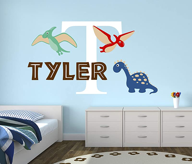 Personalized Name Dinosaurs Wall Decal Baby Room Decor Nursery Wall Decals Dinosaurs Wall Decor Mural Sticker