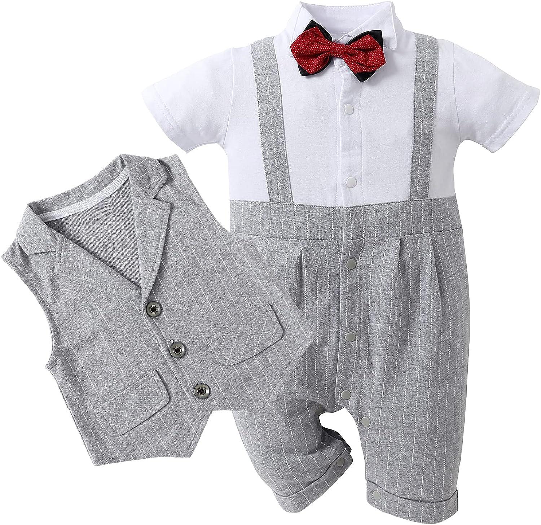 HOSUKKO Baby Boy Suit, One-Piece Romper & Vest & Beret & Bowtie (0-24 Months)