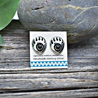 Onyx Bear Paw Earrings in 925 Sterling Silver, Authentic Navajo Native American USA Handmade, Southwest Jewelry with Natural Black Stone