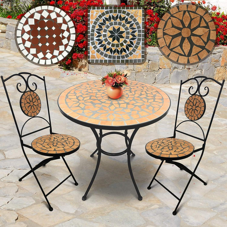 Jago Mosaik Gartenmbel Set  Tisch Rund ( H  60x70cm) mit 2 Stühlen Klappbar (46cm Sitzhhe) in Terracotta-Schwarz  Farb- und Designauswahl  Sitzgarnitur, Sitzgruppe, Gartenset