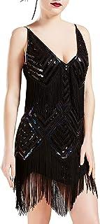 BABEYOND Women's 1920s Flapper Dress V Neck Slip Dress Roaring 20s Great Gatsby Dress for Party