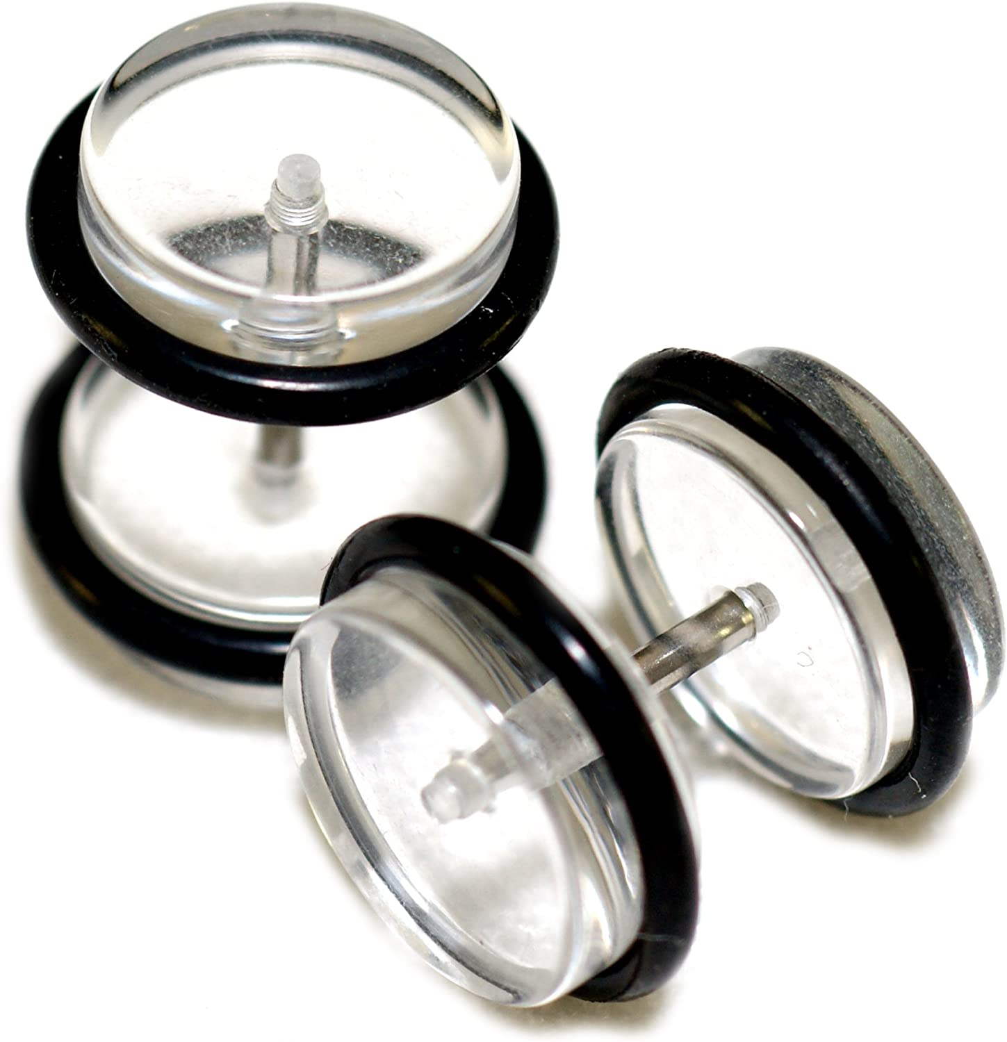 Clear Acrylic Fake Cheaters Faux Illusion Plugs 00G Gauge 10mm 1 Pair Large