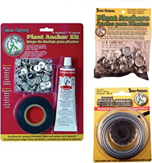 Tumax Plant Anchor Kit Bundle with Galvanized Steel Trellis Wire and Extra Wall Anchors for Training Vines, Roses and Climbing Garden Plants Also Decorative Stringed Lights and Outdoor Mister Systems