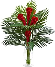 Nearly Natural Ginger Torch Artificial Glass Vase Silk Arrangements Red