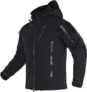 TACVASEN Mens Waterproof Jacket Military Tactical Jacket Softshell Work Coats with Hood Multi Zipper Pockets