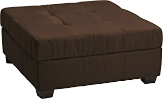 Microfiber Suede Upholstered Tufted Padded Hinged Square Storage Ottoman Bench, 36