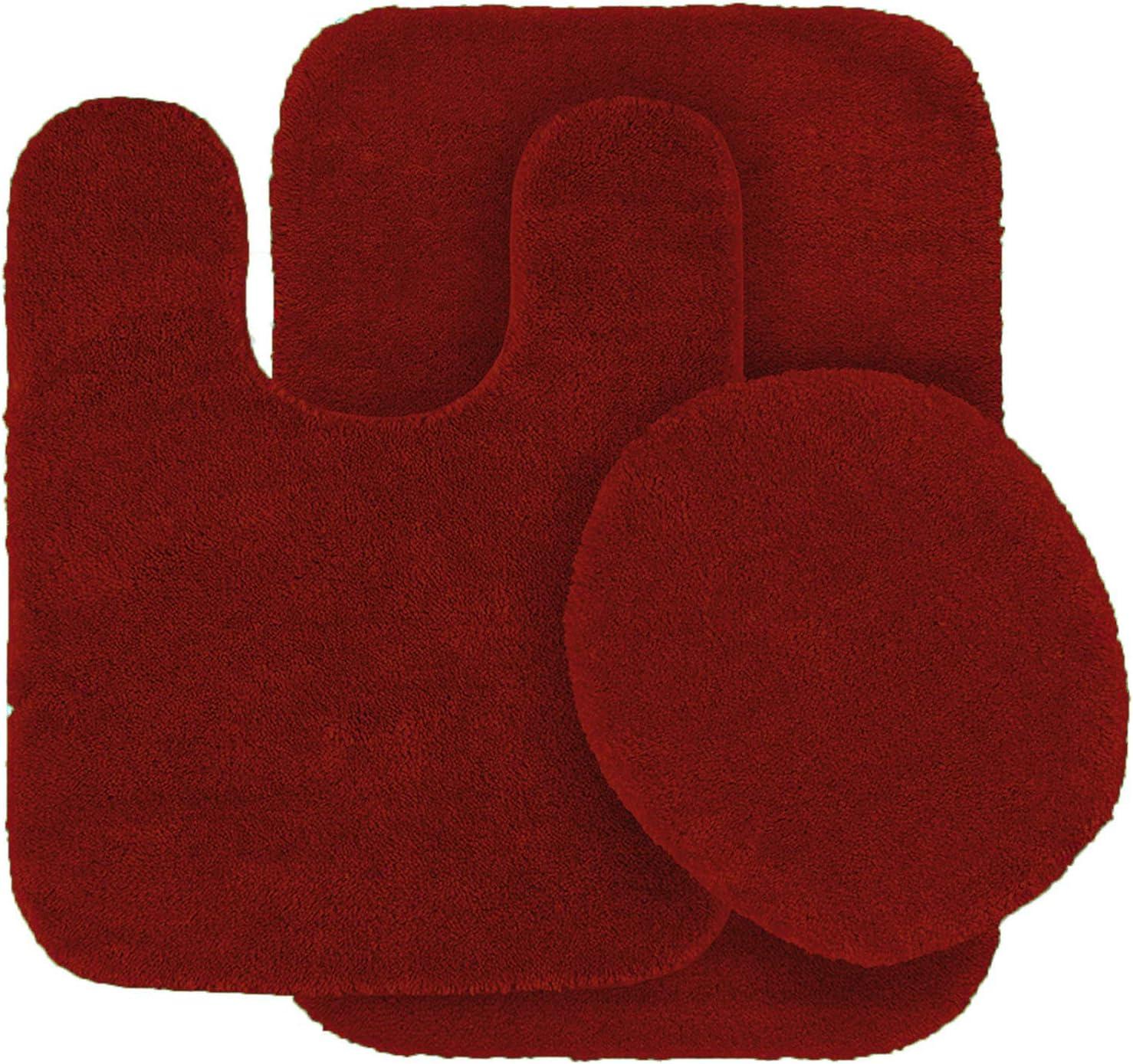 Mk Home 3pc Angela Non Slip Soft Bath Set Rugs for Bathroom Bath Rug, Contour Mat, Toilet Seat Cover New (Red)