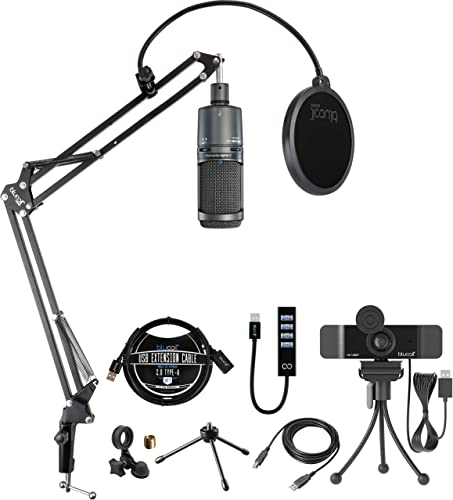 new arrival Audio-Technica AT2020USB+ Cardioid Condenser USB Microphone with new arrival Built-In Headphone Jack Bundle with Boom Arm online sale Plus Pop Filter, Blucoil 1080p USB Webcam, USB-A Mini Hub, and 3' USB Extension Cable online sale
