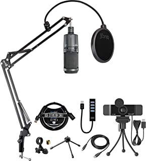 Audio-Technica AT2020USB+ Cardioid Condenser USB Microphone for Windows and Mac Bundle with Blucoil 1080p USB Webcam, Boom...