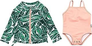 SwimZip Girl Long Sleeve Rash Guard & 1 Piece Swimsuit UPF 50+ (Multiple Colors)