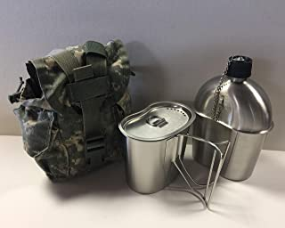 G.A.K G.I. Style Stainless Steel 1qt. Canteen with Cup and Vented LID with Surplus G.I. Issue Canteen Cover.