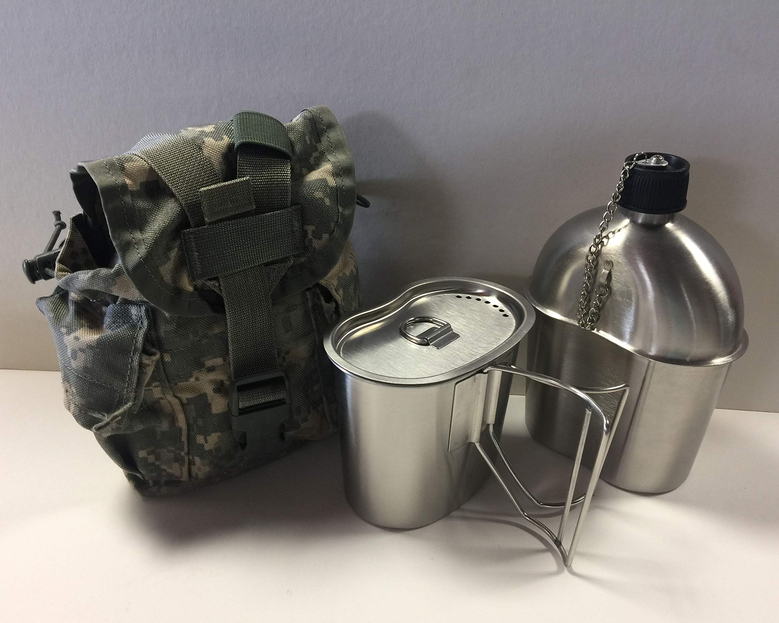 NICE Military Issue Stainless Steel CANTEEN CUP 1qt Canteen W//Butterfly Handles
