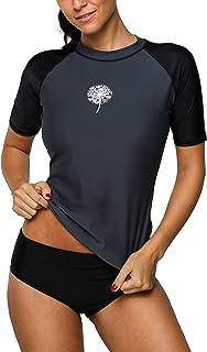 b4ab2ebbbf1bb Anwell Womens UV Protection Short Raglan Sleeve Rash Guard UPF50+ Swim Shirt