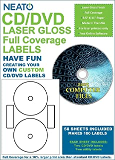 Neato CD/DVD Laser Gloss Full Coverage Labels – 50 Sheets – Makes 100 Labels - Online Design Label Studio Included - Adhesive Made Specifically for CDs & DVDs