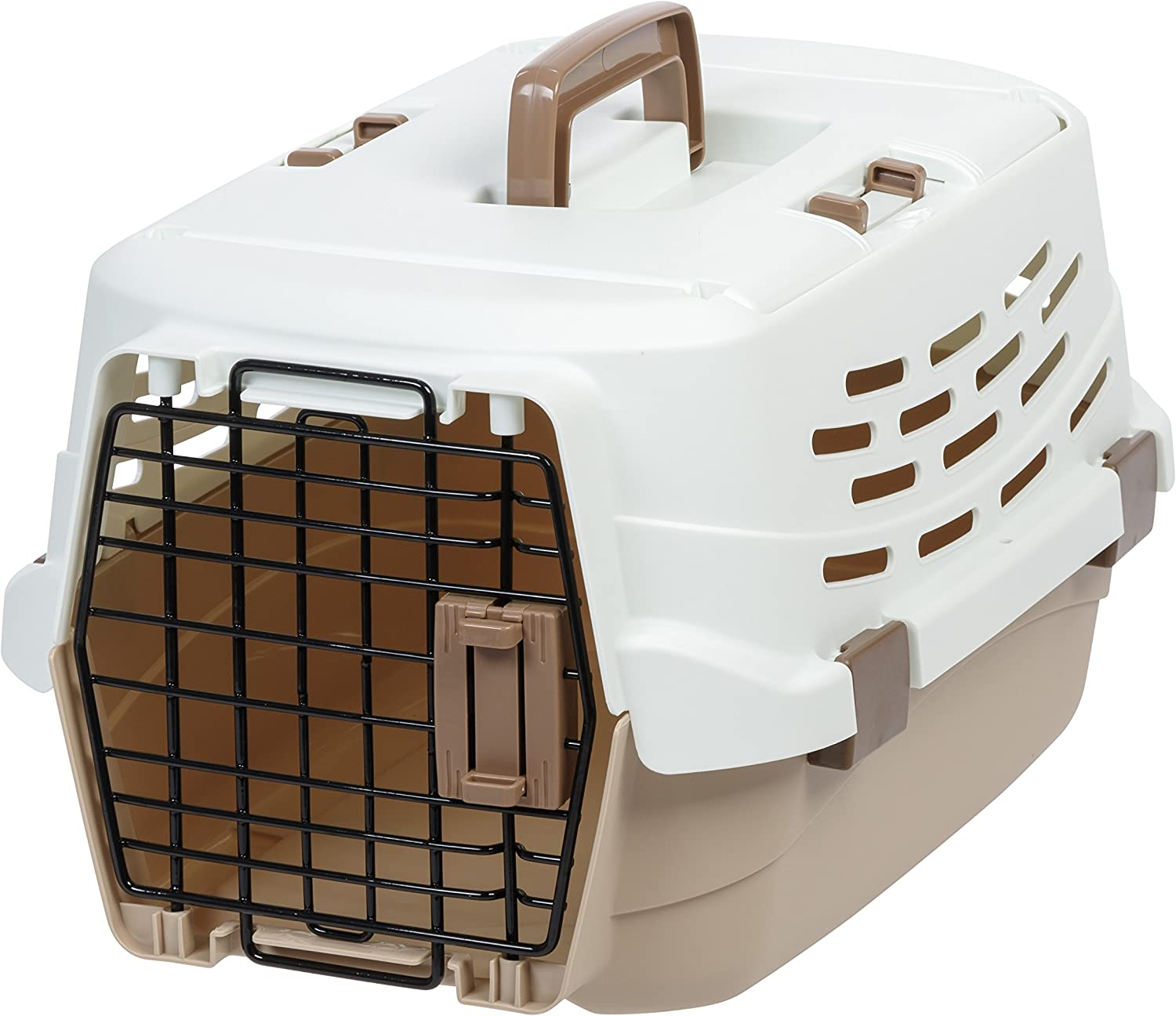 IRIS UPC490 Easy Access Pet Travel Carrier, Small, OffWhite Brown