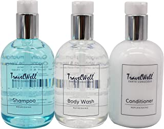 TravelWell Pressure Pump Bottle Hotel Travel Motel Airbnb Guest 11 Fl Oz/330ml Shampoo Conditioner Body Wash 2 Bottles Eac...